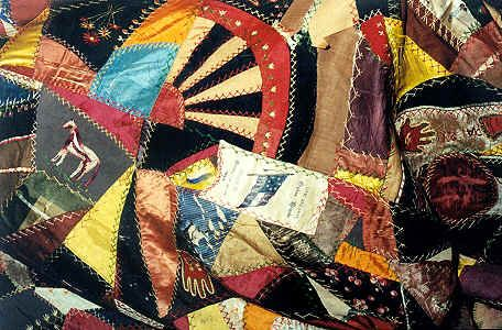Crazy quilt with Kentucky's Orphan Brigade ribbons dated 1888, Henry County, Kentucky.