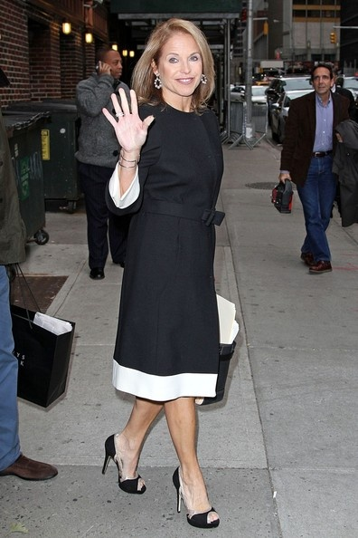 """Katie Couric, looking classy in a black and white dress, makes her way out of an appearance on """"The Late Show with David Letterman"""" in New York City"""