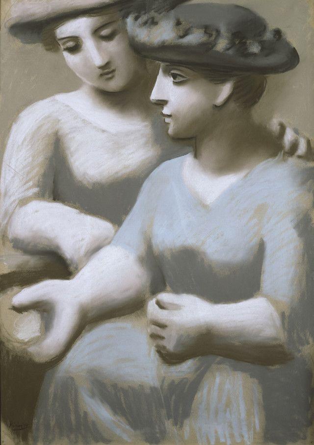 Two Women with Hats, Paris, autumn 1921, Pablo Picasso. (1881 - 1973) - pastel on paper -