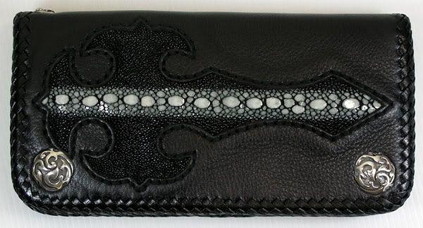 Gothic Cross Leather Biker Wallet