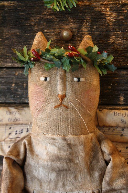 This is a E-Pattern of this Christmas Angel Kitty doll. Directions come with color photos and complete directions. Miss Holly measures 15 tall
