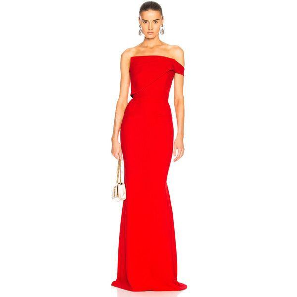 Roland Mouret Lockton Double Wool Crepe Gown ($3,350) ❤ liked on Polyvore featuring dresses, gowns, red gown, red corset dress, red corset ball gown, corset ball gown and red evening dresses