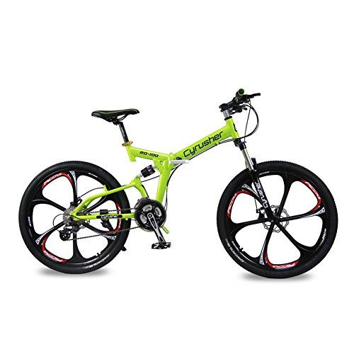 Selected Cyrusher RD100 Green Shimano M310 ALTUS Full Suspenion 24 Speeds Folding Mens Mountain Bike Bicycle 17 in  26 in Aluminium Frame Disc Brakes *** You can get additional details at the image link.