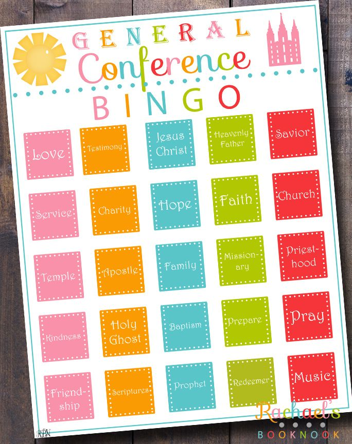 LDS General Conference Bingo Activity