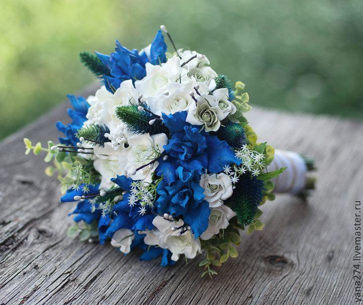 букет невесты в синем цвете фото это
