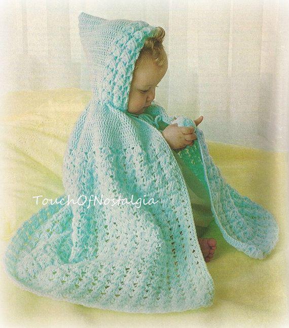 Free Knitting Pattern Pixie Hood : Crochet HOODED Cape PIXIE Vintage Crochet Pattern - Lacy ...
