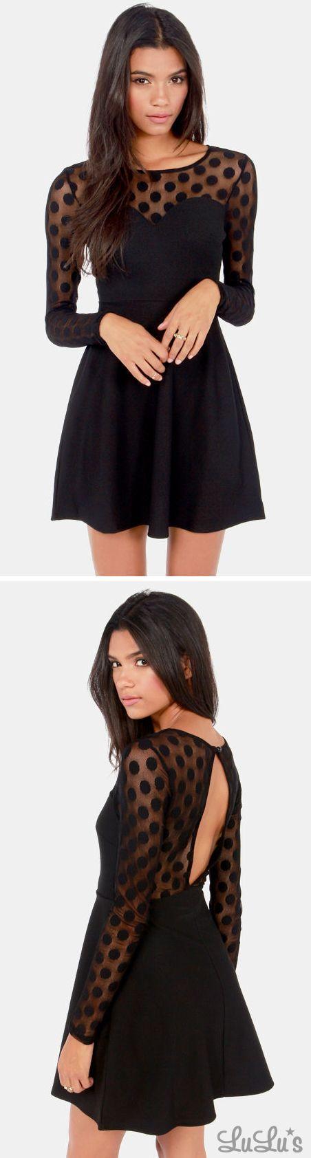In Hot Dot-ter Long Sleeve Black Dress