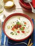 white gazpacho.  summer soup.  Not sure how I feel about cold soup, but the summer's gonna be hot!