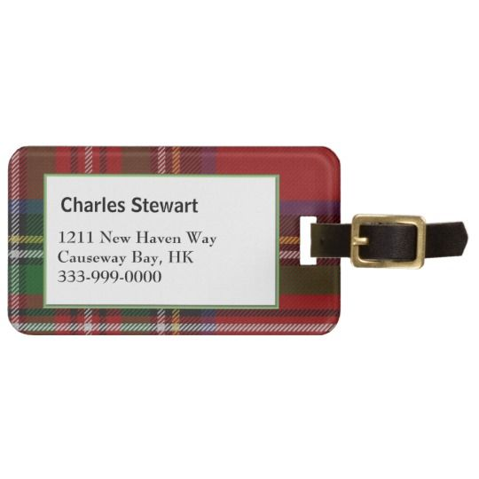 Custom Royal Stewart Tartan Plaid Luggage Tag