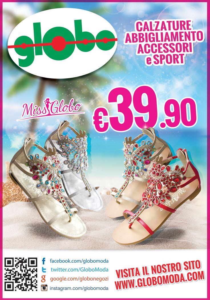 Preziosi e sfiziosi... sono arrivati i nuovissimi sandali infradito MISS GLOBO!!! Con strass multicolor - fashion ed eleganti - di giorno e di sera. I sandali gioiello sono la scelta più #glamour dell'estate!!! Disponibili nei brillanti colori oro, argento, bianco e rosso a solo € 39.90 !!!