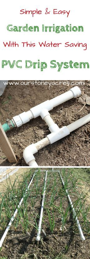 Simple & Easy PVC Drip System.  PVC Drip Irrigation is an inexpensive and easy to build method for watering your backyard garden.  After adding a PVC drip irrigation system to your garden you can expect stronger vegetable plants, fewer weeds and a lower water bill!