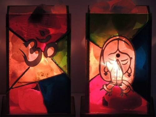 lampara de sal con simil vitraux pintados a mano oferton!!!