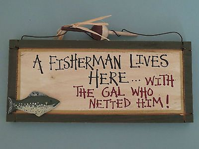 Fishing signs country decor and man cave on pinterest for Fishing decor for man cave