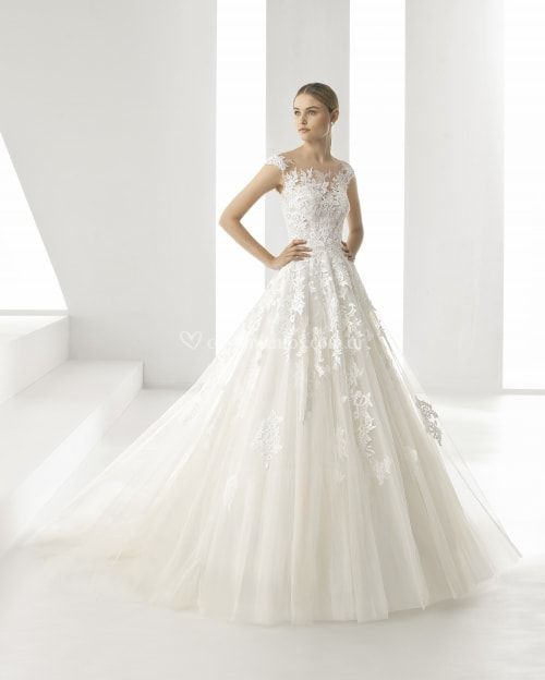 vestido de novia con escote ilusión modelo denis (rosa clarÁ