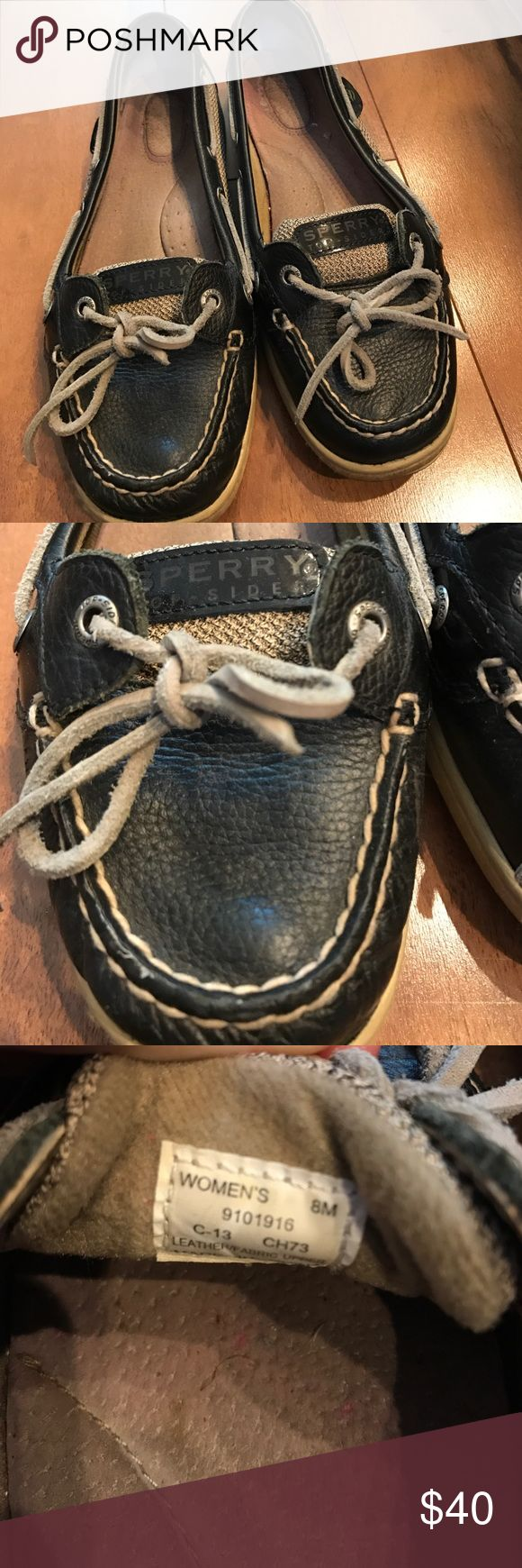 Used Black Angelfish Sperry Topsiders! (size 8) Used Black Angelfish Sperry Topsiders for sale in decent condition! Size 8. Perfect for summer to wear on any occasion. These are black and grey so they go with any outfit! *no trades, all offers will be considered through the offer button Sperry Top-Sider Shoes Flats & Loafers