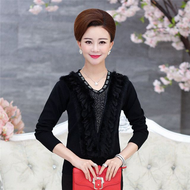 Autumn and winter long-sleeved women's V-neck fashion models loose big yards cashmere sweater pulover feminino