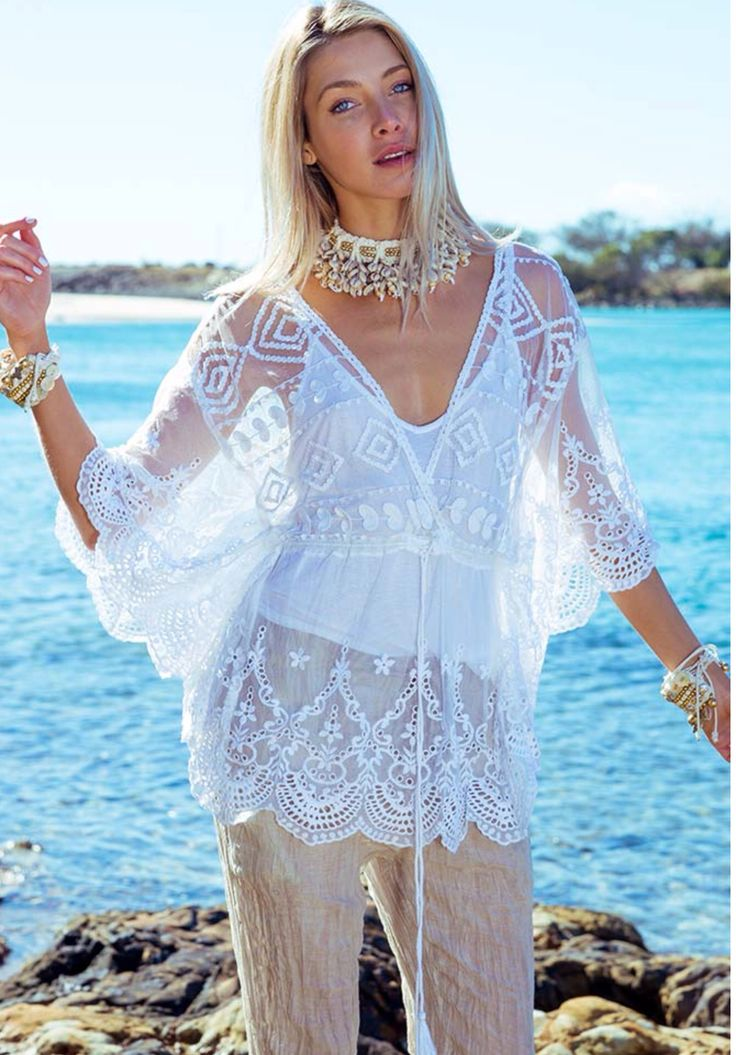 Delphi lace Kaftan available in cream , white  Www.yesclothing.co.za