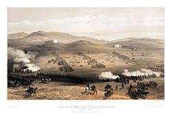 """Charge de cavalerie légère à la bataille de Balaklava en Crimée (1854) de William Simpson (1855) illustrant la charge dans la Vallée de la mort"""" du point de vue russe. - La bataille de Balaklava est un affrontement qui eut lieu le 25 octobre 1854 entre Russes et une coalition franco-britano-turco-piémontaise qui assiégeait la ville de Sébastopol lors de la guerre de Crimée. Elle s'acheva sans véritable vainqueur, mais cette charge est restée un symbole de l'absurdité de la guerre."""