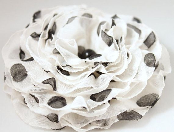 Black white brooch polka dot veil flower  OOAK  by CrystalHandmade, $14.00