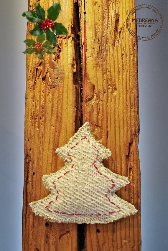 Christmas Tree Ornament / homespun grain sack hemp by Medreana, $10.00
