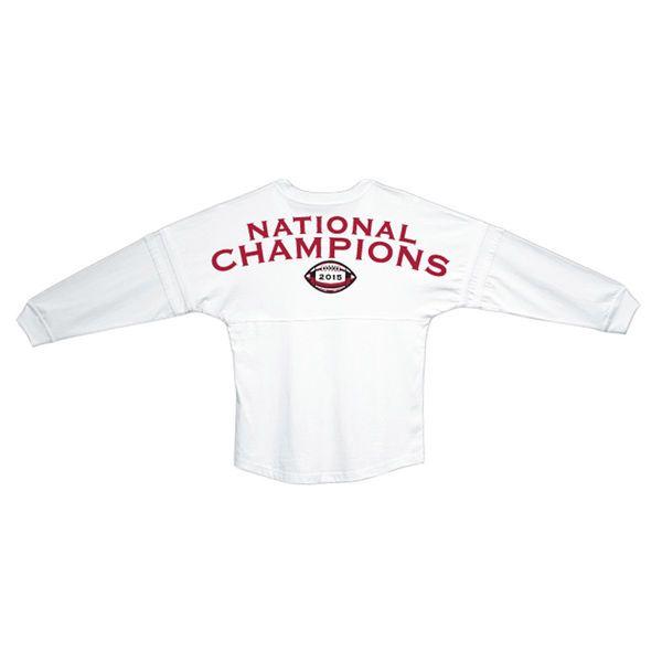 Alabama Crimson Tide Women's College Football Playoff 2015 National Champions Pom Pom Jersey Long Sleeve T-Shirt - White - $34.99