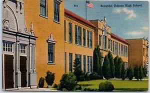 Odessa-Texas-Postcard-034-Beautiful-ODESSA-HIGH-SCHOOL-034-Tichnor-Linen-1945-Cancel