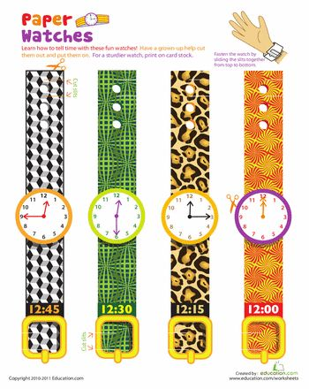 Worksheets: Practice Telling Time with Play Watches: 12 O'Clock...yes my preschoolers will be using these!