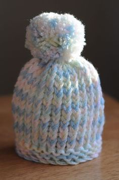 Loom Knit Puff-Ball Infant Hat
