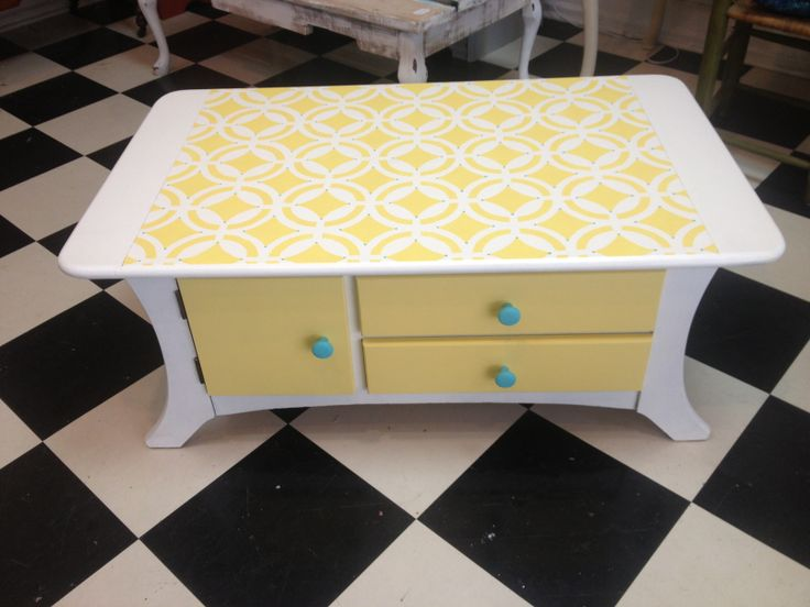 yellow graphic coffee table