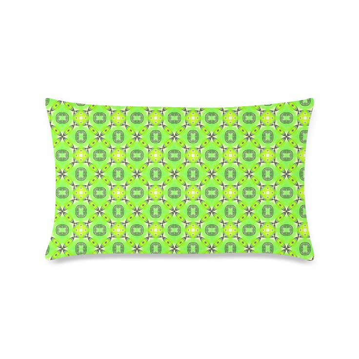 "Vibrant Abstract Tropical Lime Foliage Lattice New Pillow Case Pillow Inner Included 16""x24"""
