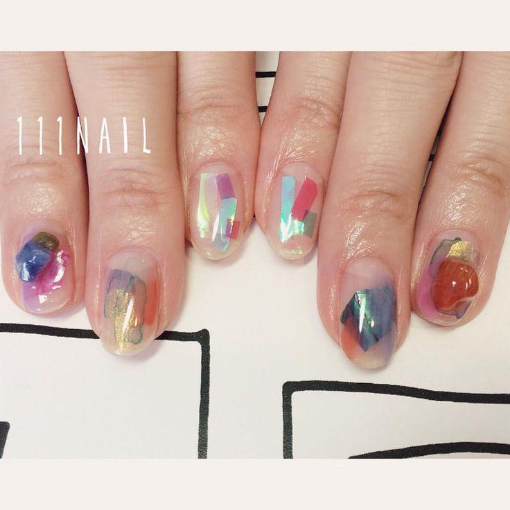 ✨ #nail#art#nailart#ネイル#ネイルアート#水彩ネイル#天然石ネイル#クリアネイル#nuance#ennui#aurora#ショートネイル#nailsalon#ネイルサロン#表参道