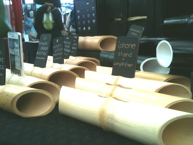 Bamboo speakers by 'Ume' can be found in Greenwich Market on Saturdays. Original.