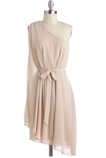 Champagne Soiree Dress - Cream, Solid, A-line, One Shoulder, Mid-length, Wedding, Party,