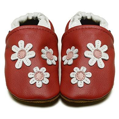 Red Daisies - Soft Sole Baby Shoes I Available in Sizes 0-6, 6-12 and 12-18 months | FOX & FROG