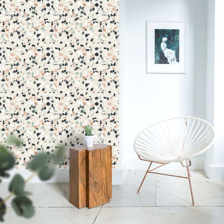 papier peint terrazzo vintage  Avec ce papier peint, nous avons souhaité revenir à des matières aux couleurs claires ou plus sombres pour une décoration intérieure qui claque! #terrazzo #vintage #effetpierrev#wallpaper #papierpeint #magneticwall
