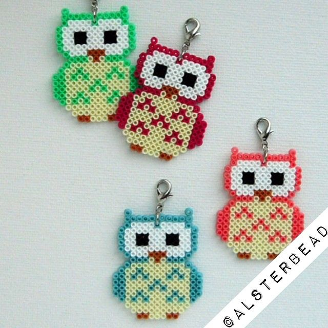 Owl charms hama mini beads by alsterbead