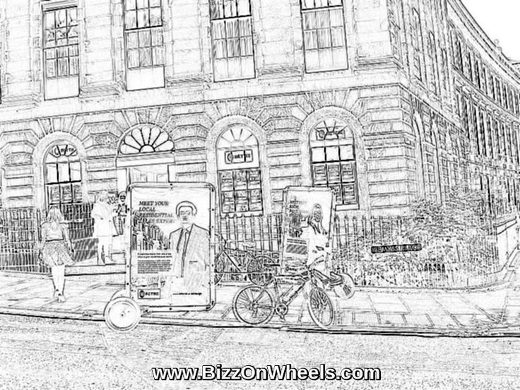 Advertising bike drawing. There is an AdBicy mobile billboard