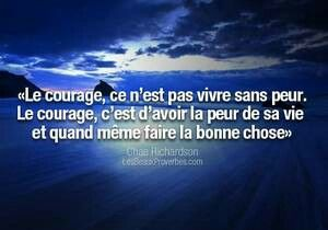 Le courage, ce n'est pas vivre sans peur. Le courage, c'est d'avoir la peur de sa vie et quand même faire de bonnes choses ..