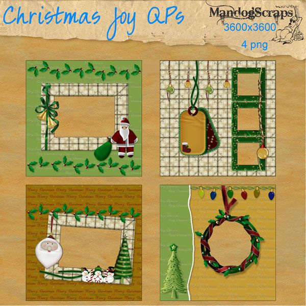 Daisies & Dimples Christmas Joy Quick Pages [Mandogscraps] - There are 4 full size quick pages in png format made from my Christmas Joy kit Just slip your photo behind the page and voila !  instant layout Personal use