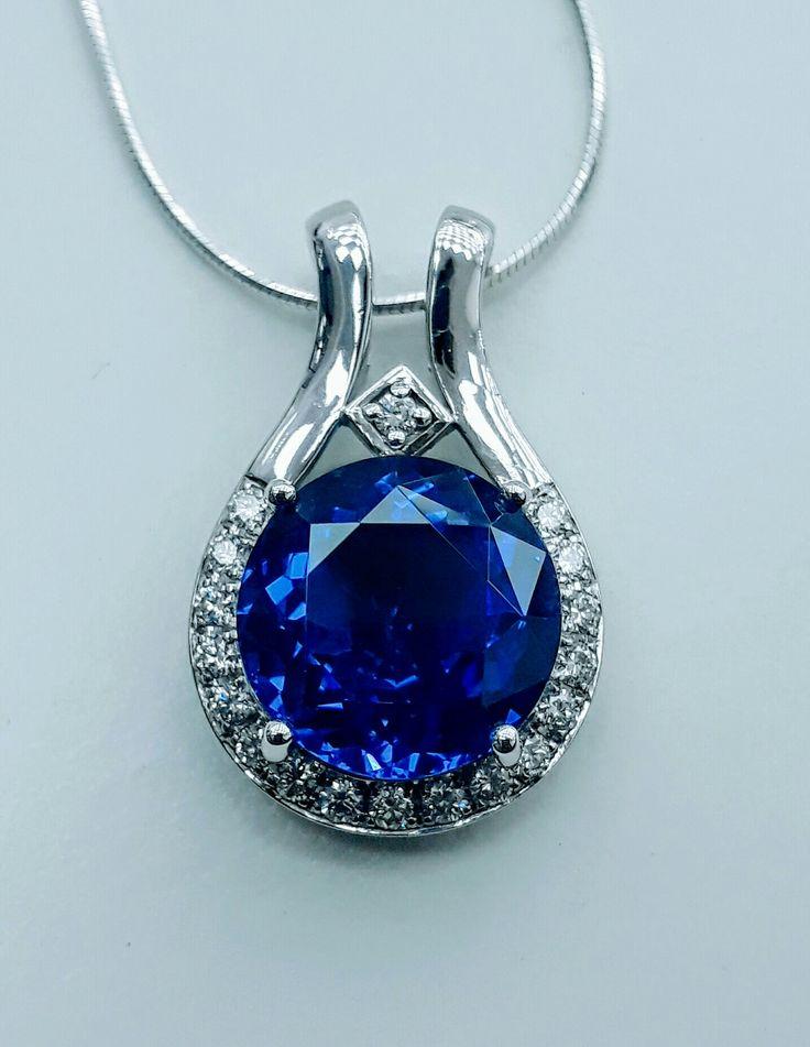 Diamond || BEAUTIFUL #Tanzanite #pendant with #white #gold
