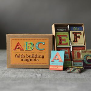 For Easter Baskets!   Each has a letter and corresponding faith-building word and quote to creatively remind them what God wants them to be. 26 magnets. For ages 3 and up.