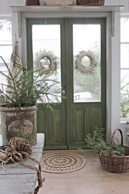 Double Doors with Glass Panels - beautiful doors painted with milk paint - pretty shade of green paint - via VIBEKE DESIGN: A small house ... to the delight of many!