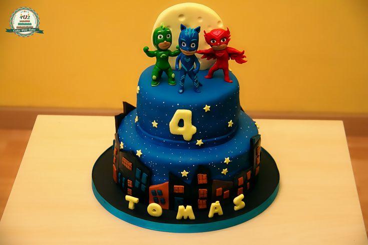 Amazing 3 tier PJ Masks birthday cake - love the details on each.