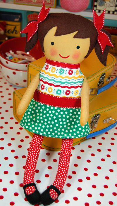 This little fabric doll is SO cute.  I plan to make several this summer, the possibilities for clothing fabrics are endless.