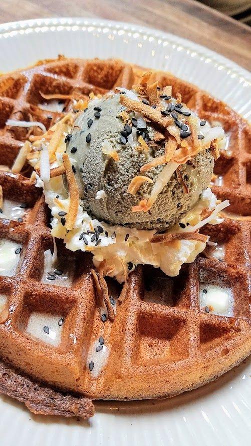 Expatriate Brunch, Rice Waffle with Black Sesame Ice Cream made with heirloom carolina rice flour, coconut glaze, local honey