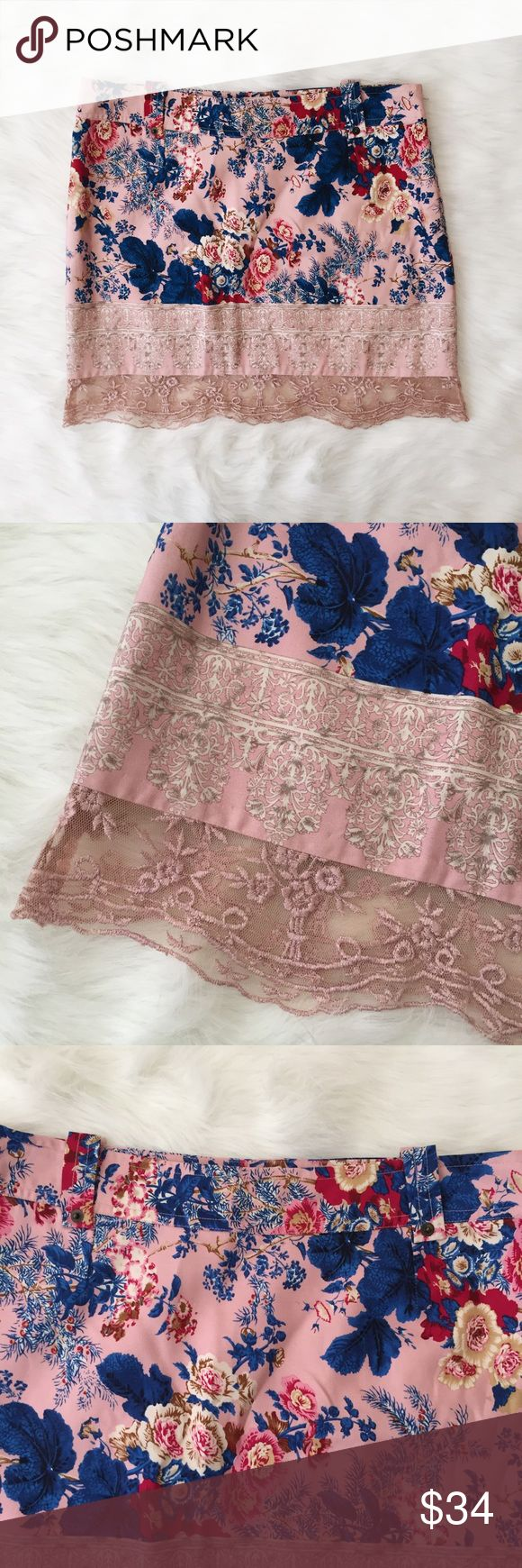 Anthro Plenty Floral Pink Lace Silk Mini Skirt Great condition! This skirt is amazing. I wish it was my size! Anthropologie Skirts Mini