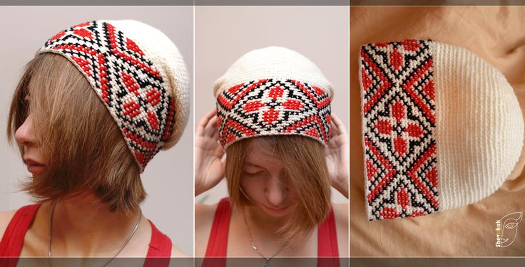 knitted crochet hat with embroidery in the Ukrainian style