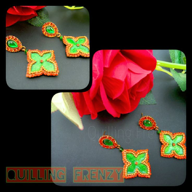 Orange and green paper base earrings