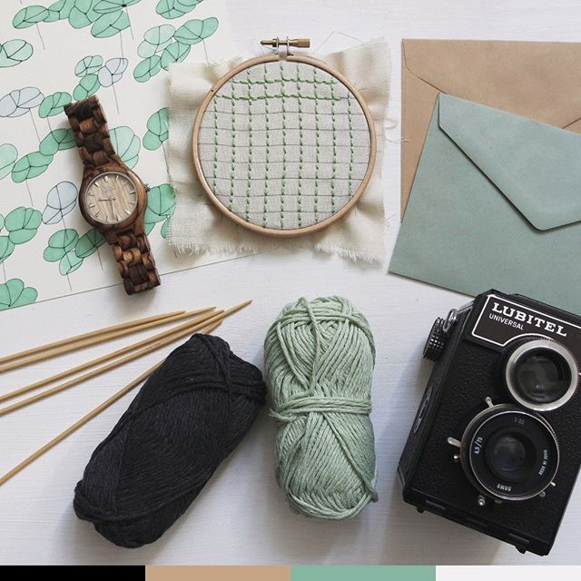 Color Inspiration  Photo by Giulia Bertelli  #teal #black #beige #white #knit #floral #fabric #embroidery #yarn #vintage #camara #colorinpiration #watch # wood #craft #envelope
