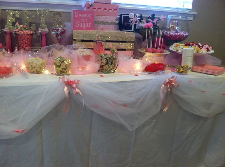 Pink Gold And White Baby Shower Candy Buffet Table